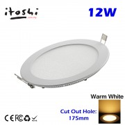 12W Round LED Recessed Slim Panel Downlight Warm White Color without LED Driver cut out size 175mm