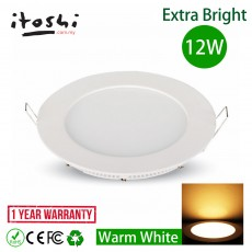 12W Round LED Recessed Slim Panel Downlight Warm White Color