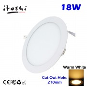 18W Warm White LED Downlight Ceiling Recessed Light without LED Driver cut out size 210mm