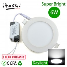 6W LED Round Downlight Recessed Slim Panel Ceiling Light Daylight