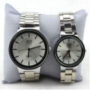 AD Love Couple Watch Stainless Steel Quartz Movement Gift (Silver)