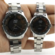 Couple Elegant Watches Stainless Steel (Black)