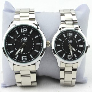 AD STEEL Stainless Steel Couple Watch Premium FashionWrist Watch Quartz Analog (Black)