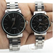Couple Black Premium Watches Gift Accessories (Black)