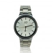 AD STEEL Men Stainless Steel Business Watches Quartz Analogue (Silver)