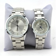 AD STEEL Watch Pair Couple Premium Quality Gift Stainless Steel Japan Quartz Round Dial (Silver)