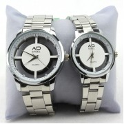 Couple Watches Analog Quartz Dial Fashion Business Dress Gift (White)
