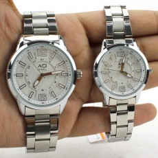 AD STEEL Pair Couple Wrist Watch Gift Fashion Timepiece (White)
