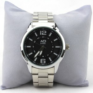 AD STEEL Casual Stainless Steel Wrist Watch for Men (Black)