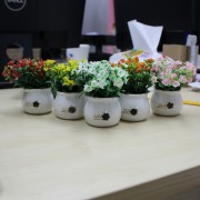 Desktop Decorative Artificial Flower in Round Pot