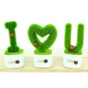 Alphabet Decorative Word Name Number Artificial Grass Plant Home Decorative Letter