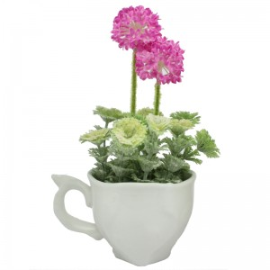 Colourful Artificial Flower in White Ceramic Cup for Home, Shop or Office Decor