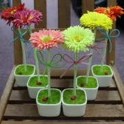 Artificial Gerbera with Ladybird Home Room and Office Decor