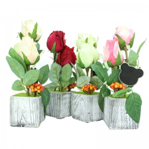 Love Gift Rose Artificial Flower Pot with Message Board Decoration Gift