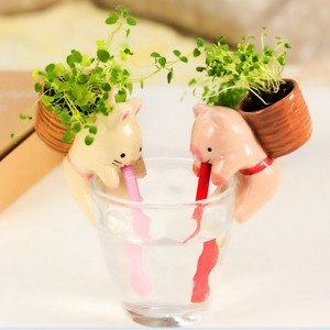 DIY Indoor Plant Self Watering Cute Animal Pot Planting Gift Decor