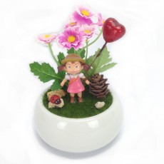 Home Decorative Totoro little girl in White Ceramic Pot