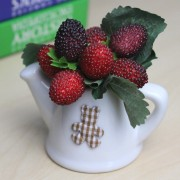 Small size Artificial Cherry Berry in Ceramic Pot