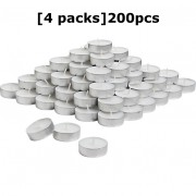 4 Packs 200pcs Tealight Candles White Parafin Wax Long Burning Hour