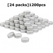 24 Pack 1200pcs Tealight Candles White Parafin Wax Long Burning Hour