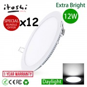 x12pcs 12W 6 Inch Led Panel Downlight Round Daylight