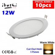 10pcs 12W LED Ceiling Recessed Light Warm White without LED Driver cut out size 175mm