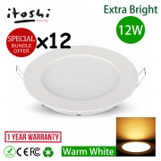 12pcs 12W 6 Inch LED Ceiling Recessed Light Warm White