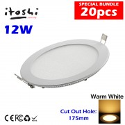 20pcs 12W  LED Ceiling Light Home Plaster Ceiling Round Warm White without LED Driver cut out size 175mm