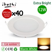 40pcs 12W 6 inch LED Ceiling Light Home Plaster Ceiling Round Warm White