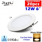 20pcs 12W 6 inch LED Ceiling Light Home Plaster Ceiling Round Warm White