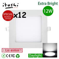 12pcs 6 Inch 12W Led Panel Downlight Square Daylight(White)