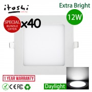"40pcs 6"" 12W LED Downlight Slim Panel Square Daylight"