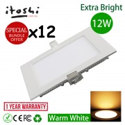 "12pcs 12W 6"" Square LED Ceiling Light Warm White"