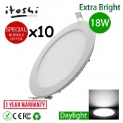 x10pcs 18W 8 Inch Led Panel Ceiling Light Round Daylight