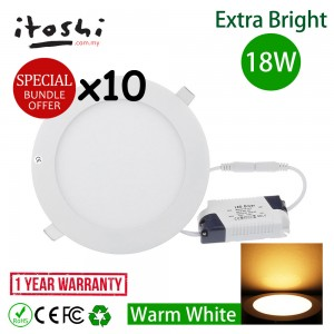 10pcs 8 Inch 18W Led Panel Downlight Round Warm White
