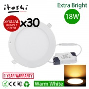 x30pcs 18W 8 Inch LED Ceiling Light Save Energy Recessed Light Round Warm White