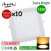 "x10pcs 18W 8"" Led Panel Downlight Square Warm White"