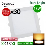 30pcs 18W 8 Inch LED Downlight Square Warm White