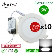 X10pcs 4 Inch 6W LED Ceiling Light Round Daylight(White)
