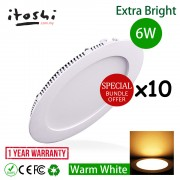"x10pcs 6W 4"" Led Downlight Slim Panel Round Warm White"