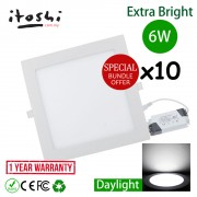 "x10pcs 6W 4"" LED Downlight Square Daylight(White)"