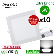 10pcs 6W 4 Inch LED Downlight Square Daylight(White)