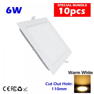 10pcs 6W LED Ceiling Light Square Warm White