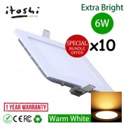 x10pcs 6W 4 Inch LED Ceiling Light Square Warm White