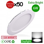 50pcs 6W 4 inch LED Slim Panel Downlight Round Daylight