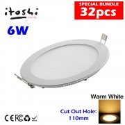 6W LED Downlight Energy Saving Lighting Round Warm White 32pcs Package