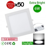 50pcs 6W 4 Inch LED Recessed Ceiling Light Square Daylight
