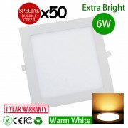50pcs 6W 4 inch LED Ceiling Light Square Warm White