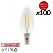100pcs 4W LED Candle Light Bulb E14 Warm White