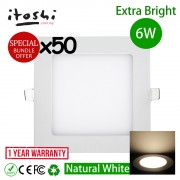 50pcs 6W 4 inch LED Ceiling Light Square Natural White