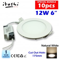 10pcs 12W 6 Inch LED Slim Panel Downlight Natural White